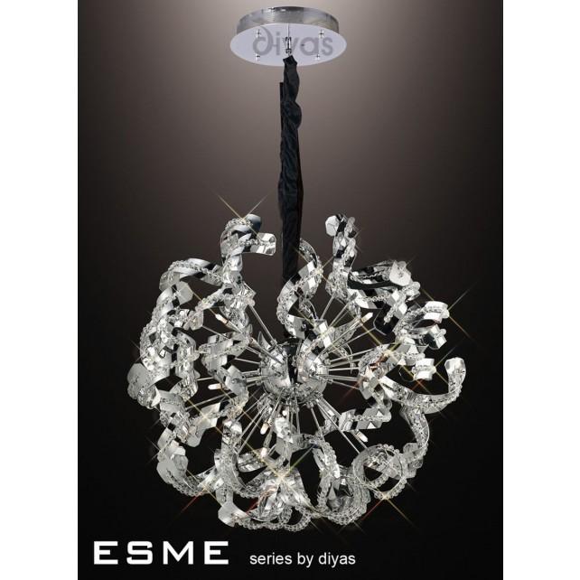 Diyas Esme Pendant 12 Light Polished Chrome/Crystal