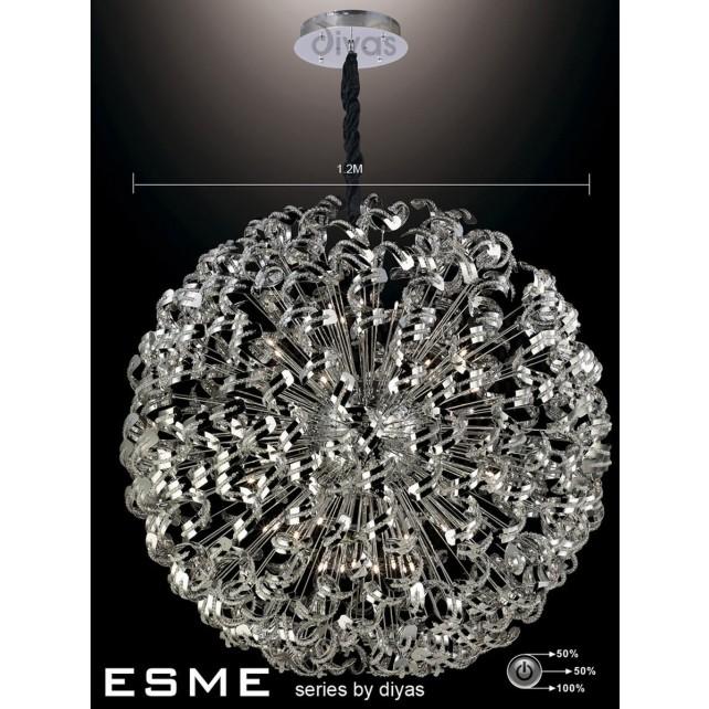 Diyas Esme Pendant 42 Light Polished Chrome/Crystal