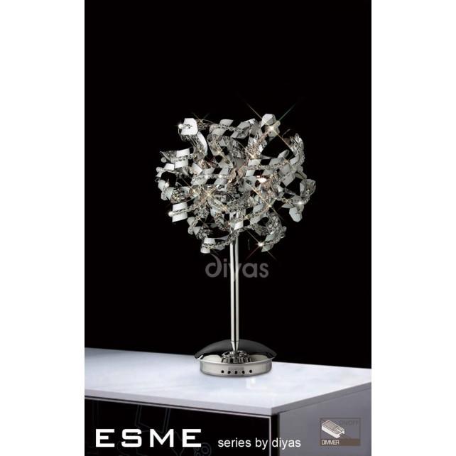 Diyas Esme Table Lamp 5 Light Polished Chrome/Crystal