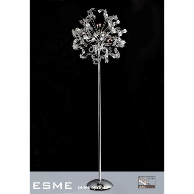 Diyas Esme Floor Lamp 12 Light Polished Chrome/Crystal
