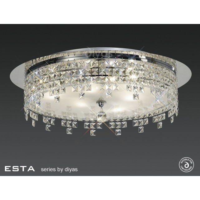 Diyas Esta Ceiling Round 4 Light Polished Chrome/Crystal