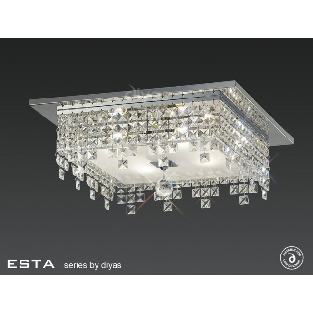 Diyas Esta Ceiling Square 4 Light Polished Chrome/Crystal