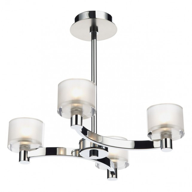 Eton 4 Light Semi Flush Polished Chrome/ Satin Chrome