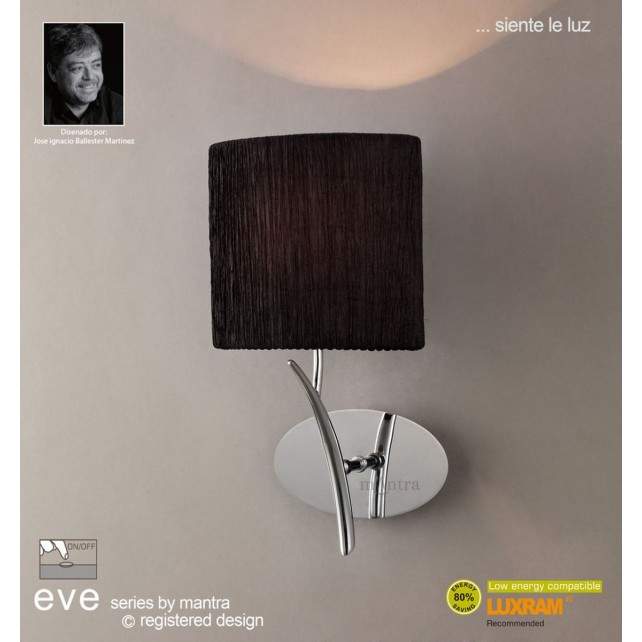 Eve Wall 1 Light Polished Chrome With Black Shade Switched