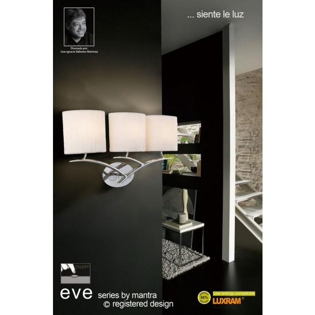 Eve Wall 3 Light Polished Chrome With White Shade Switched