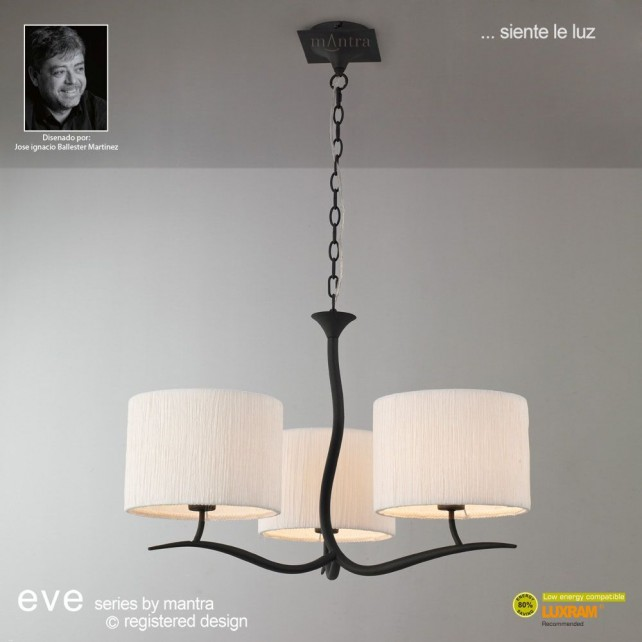 Eve Pendant 3 Light Antracite With White Shade