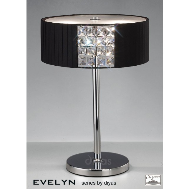 Diyas Evelyn Table Lamp 2 Light Chrome/Crystal With Black Shade