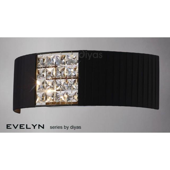 Diyas Evelyn Wall Lamp 2 Light Chrome/Crystal With Black Shade