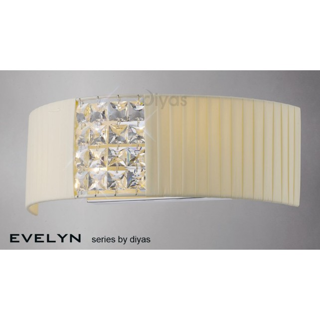 Diyas Evelyn Wall Lamp 2 Light Chrome/Crystal With Cream Shade