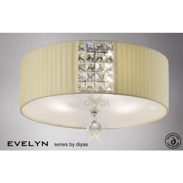 Diyas Evelyn Ceiling 3 Light Polished Chrome/Crystal With Cream Shade