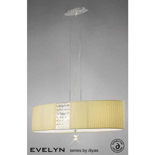 Diyas Evelyn Pendant 4 Light Polished Chrome/Crystal With Cream Shade