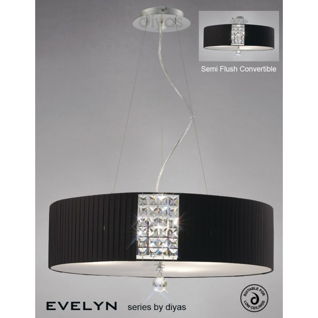Diyas Evelyn Pendant 5 Light Polished Chrome/Crystal With Black Shade