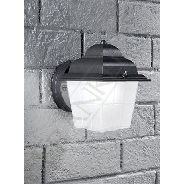 Franklite Giardino IP44 Exterior Wall Bracket - Die-Cast Aluminium, Dark Grey, Satin Glass Diffuser
