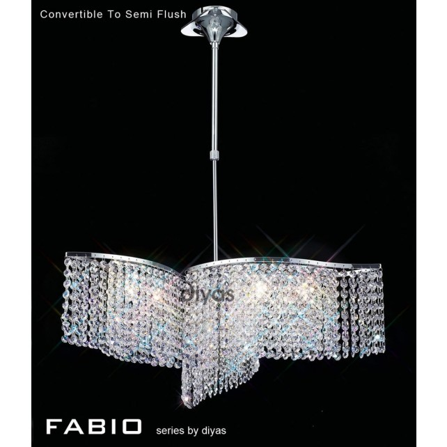 Diyas Fabio Pendant 6 Light Polished Chrome/Crystal