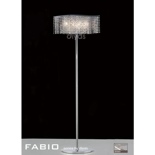 Diyas Fabio Floor Lamp 4 Light Polished Chrome/Crystal