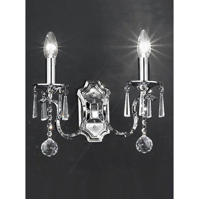Franklite Taffeta Chandelier Wall Light - 2 Light, Chrome