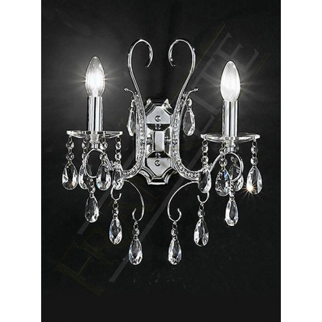 Franklite Brocade Chandelier Wall Light - 2 Light, Chrome