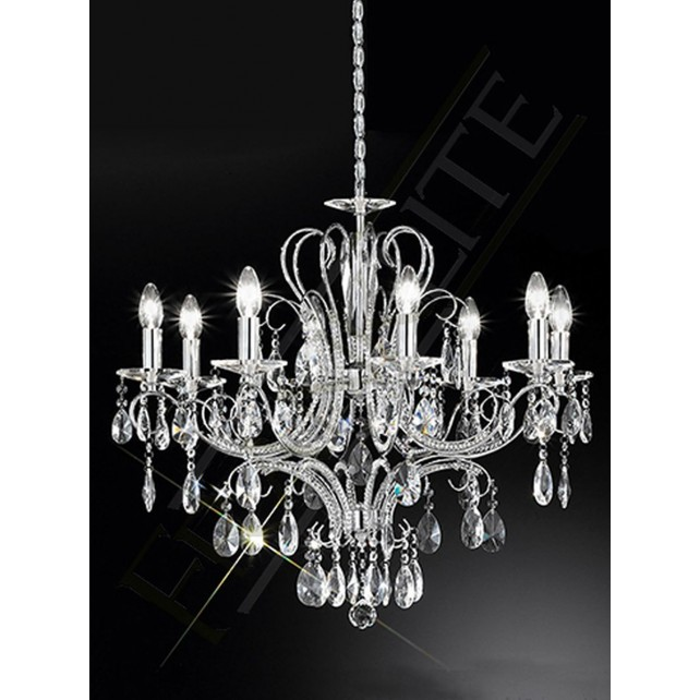 Franklite Brocade Chandelier - 8 Light, Polished Chrome, Crystal Glass