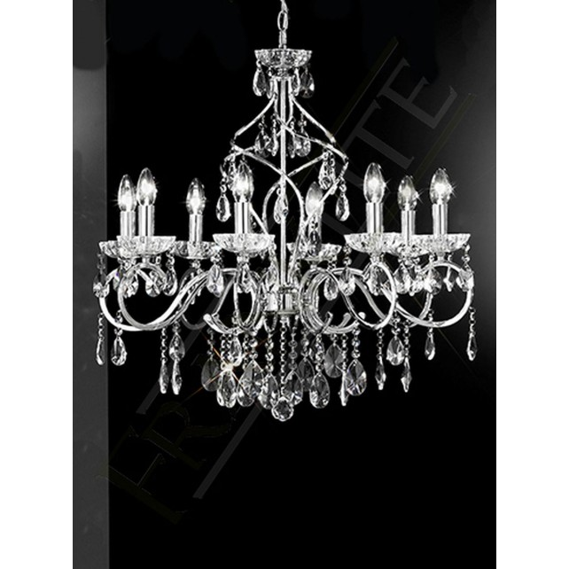 Franklite chiffon chandelier 8 light chrome crystal