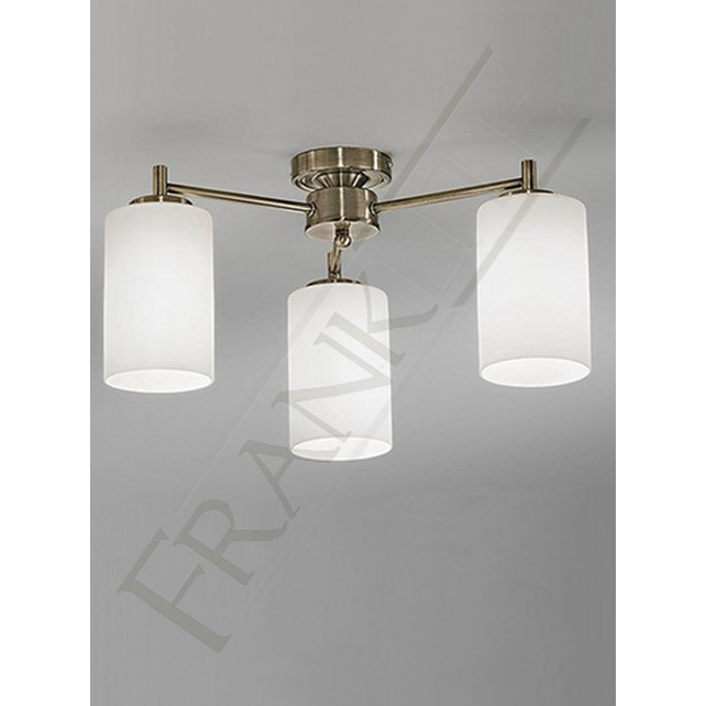 Franklite Decima Semi Flush Fitting (Down) - Bronze, 3 Light, Complete with Matt Opal Glass