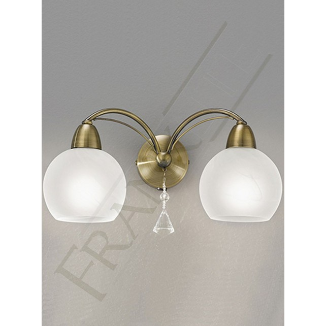 Franklite Thea Wall Light - 2 Light, Bronze, Complete with Shades
