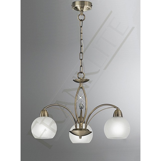 Franklite Thea Ceiling Light - 3 Light, Bronze, Complete with Shades