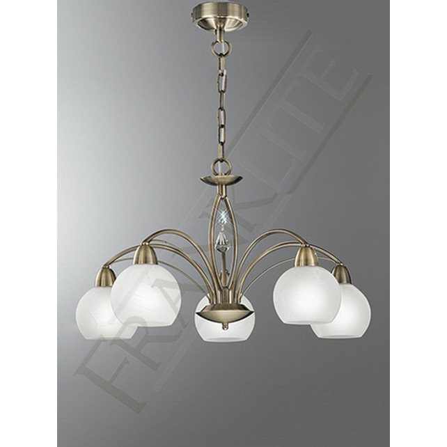 Franklite Thea Ceiling Light - 5 Light, Bronze, Complete with Shades