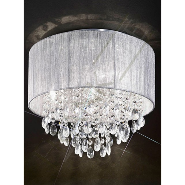 Franklite Royale Fluch Ceiling Light - 4 Light, Chrome, Complete with Shade