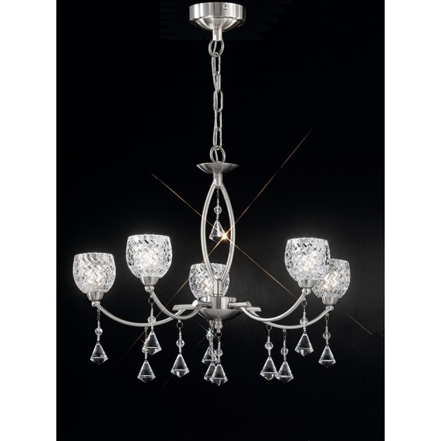 Franklite Sherrie Ceiling Light - 5 Light, Satin Nickel, Complete with Glass Shades
