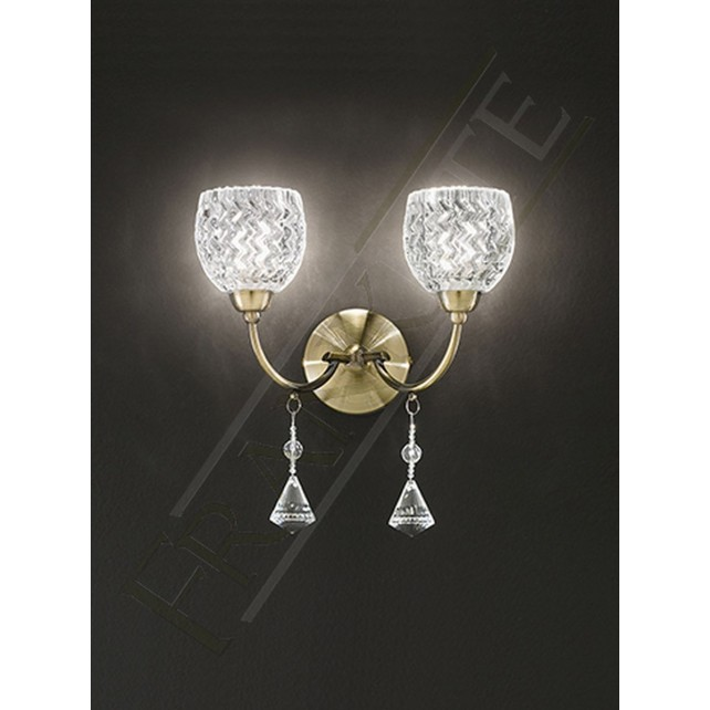 Franklite Sherrie Double Wall Light - Bronze, Complete with Glass Shades
