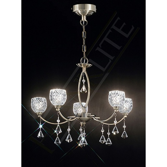 Franklite Sherrie Ceiling Light - 5 Light, Bronze, Complete with Glass Shades