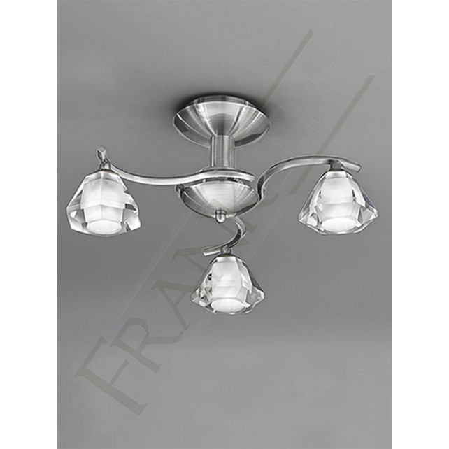 Franklite Twista Semi Flush Ceiling Light - 3 Light, Satin Nickel