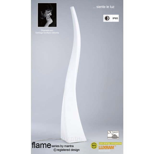 Flame Floor Lamp 4 Light Outdoor IP44 White