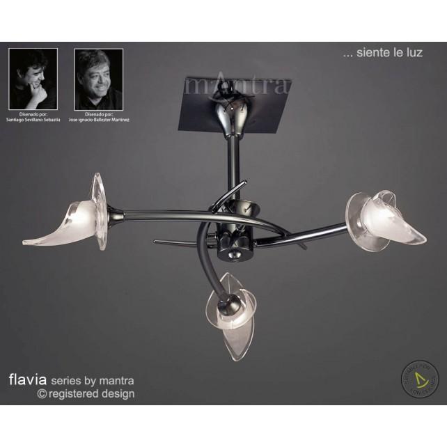 Flavia Semi Ceiling 3 Light Round Black Chrome