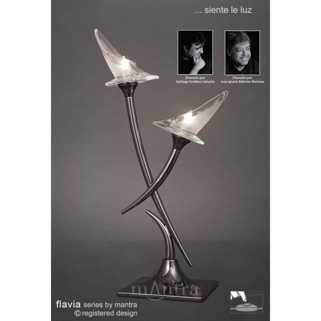 Flavia Table Lamp 2 Light Black Chrome