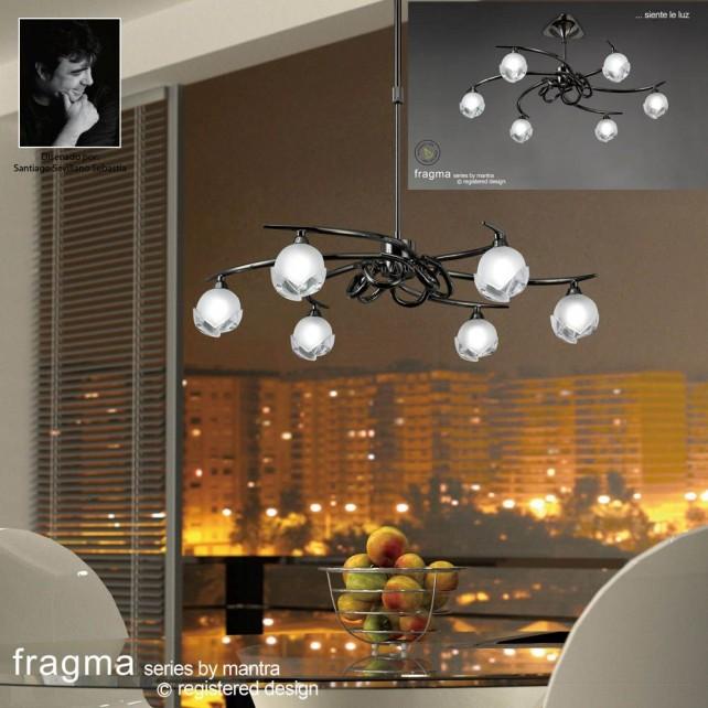 Fragma Pendant 6 Light Black Chrome