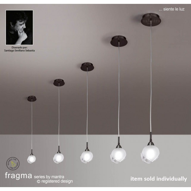 Fragma Pendant 1 Light Black Chrome