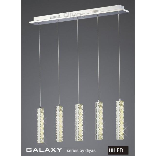 Diyas Galaxy 5 Drop Pendant 3600K 30X0.5W LED Chrome/Crystal