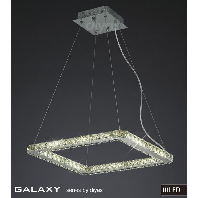 Diyas Galaxy Small Square Pendant 3600K 52X0.5W LED Light Chrome/Crystal