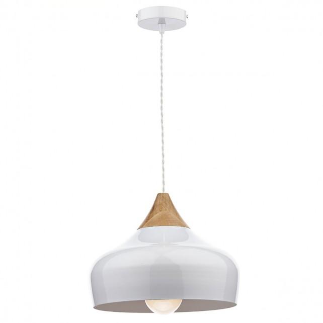 Gaucho Single Ceiling Pendant - White, Wood detailing, White Inner