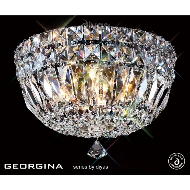 Diyas Georgina Ceiling 4 Light Polished Chrome/Crystal