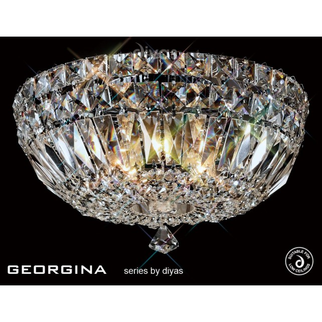 Diyas Georgina Ceiling 5 Light Polished Chrome/Crystal