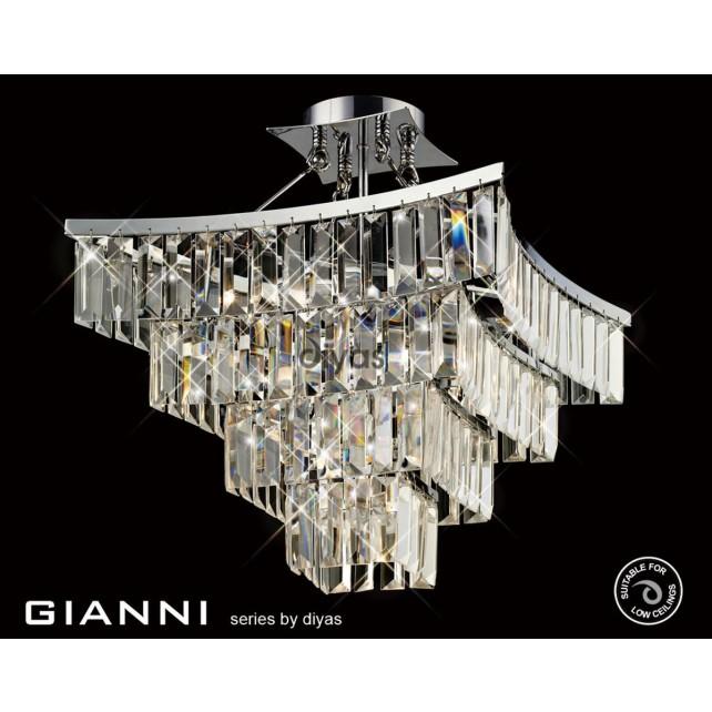 Diyas Gianni Semi Ceiling 5 Light Polished Chrome/Crystal