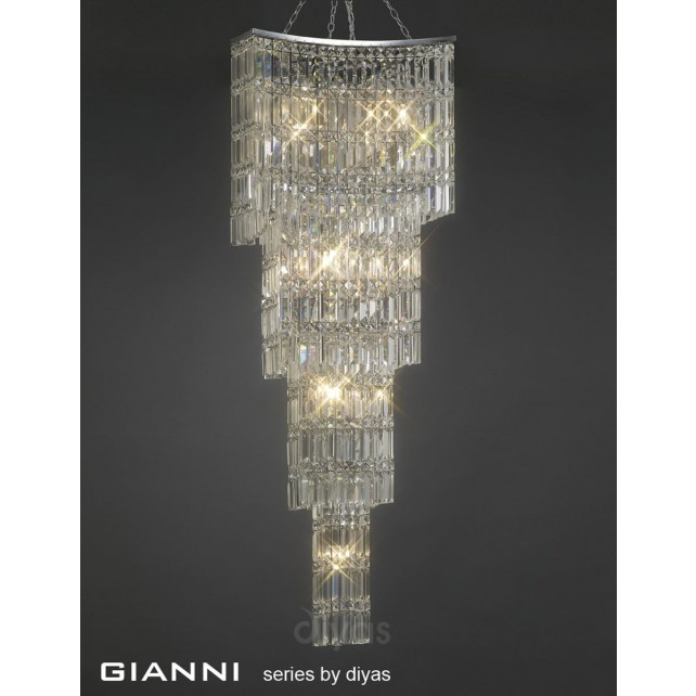 Diyas Gianni Pendant 15 Light Polished Chrome/Crystal