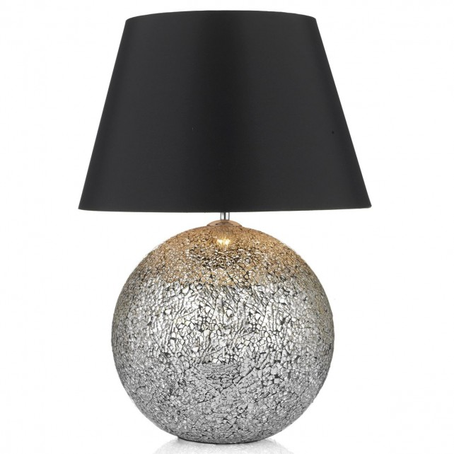 Glitter Glass Medium Table Lamp - c/w Black shade