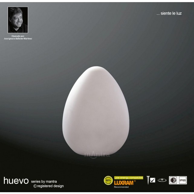 Huevo Egg Table Lamp 1 Light Outdoor IP65 White