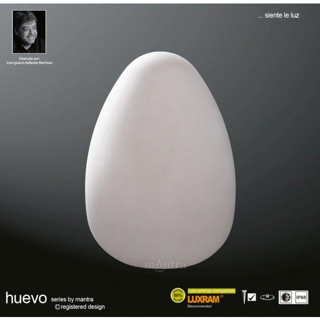 Huevo Large Egg Table Lamp 1 Light Outdoor IP65 White
