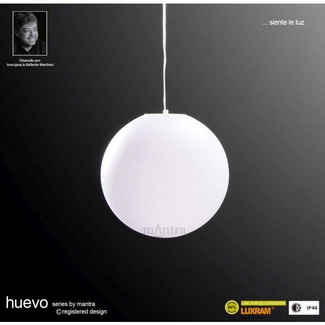 Huevo Medium Ball Pendant 1 Light Outdoor IP44 White