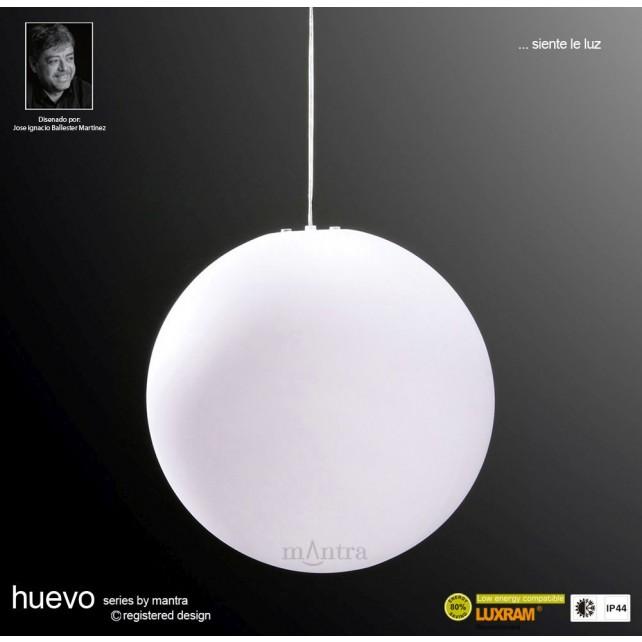 Huevo Large Ball Pendant 1 Light Outdoor IP44 White