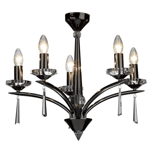 Hyperion Ceiling Light (Dual Mount) - 5 Light Black Chrome